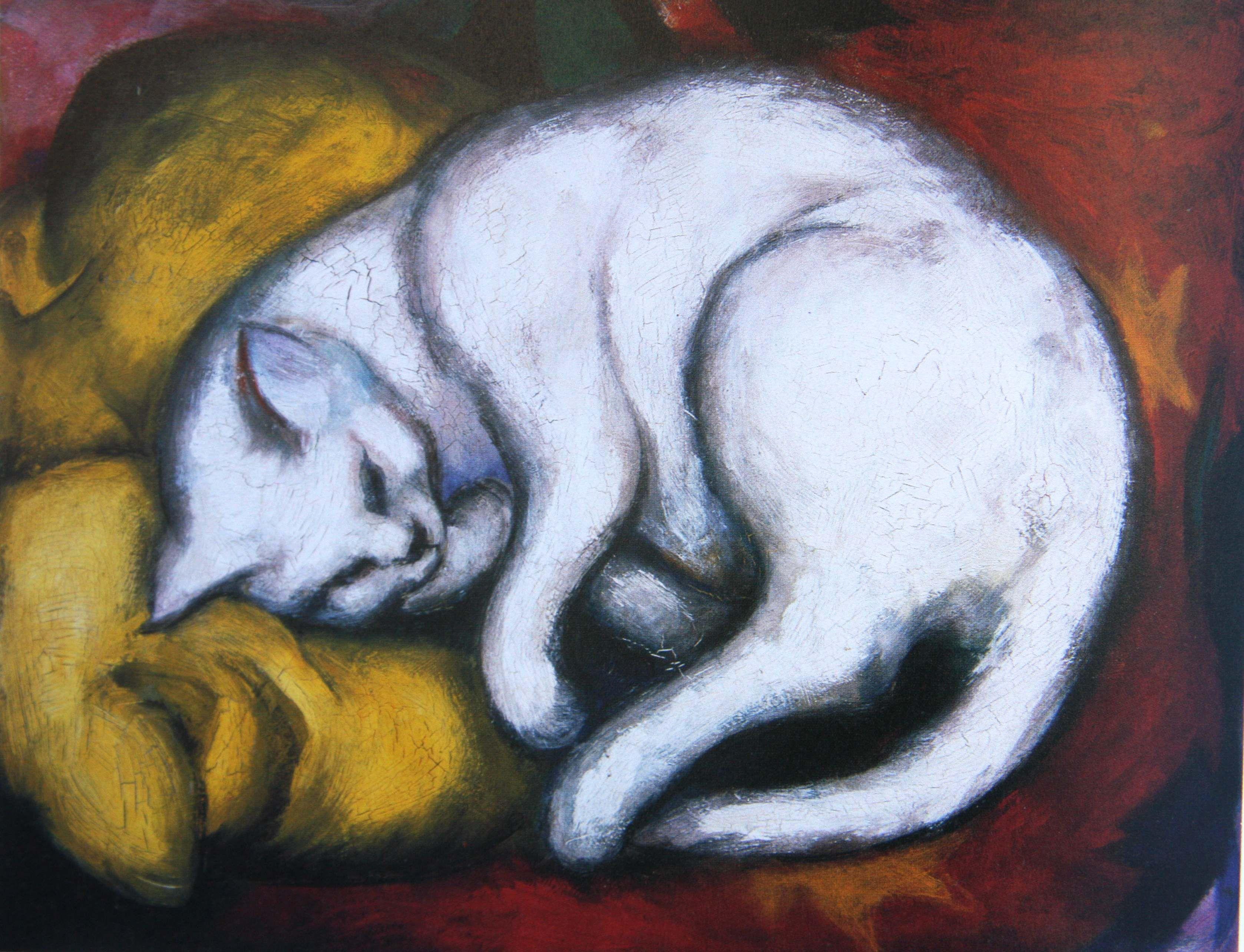 Franz Marc 1912 Weisse Katze Kunstproduktion Katzen Kunst