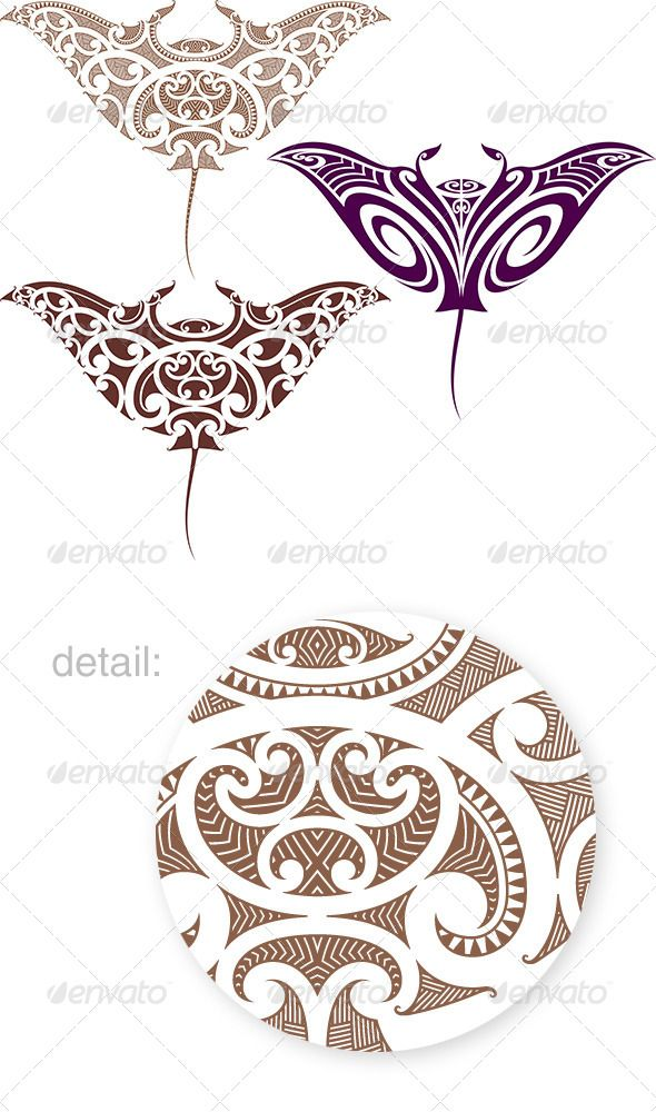 Maori Manta Tattoo Design - Tattoos Vectors