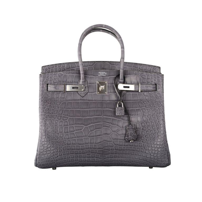 ea9faae84b1e Hermes birkin bag 35cm gris paris (grey) matte croc alligator ph