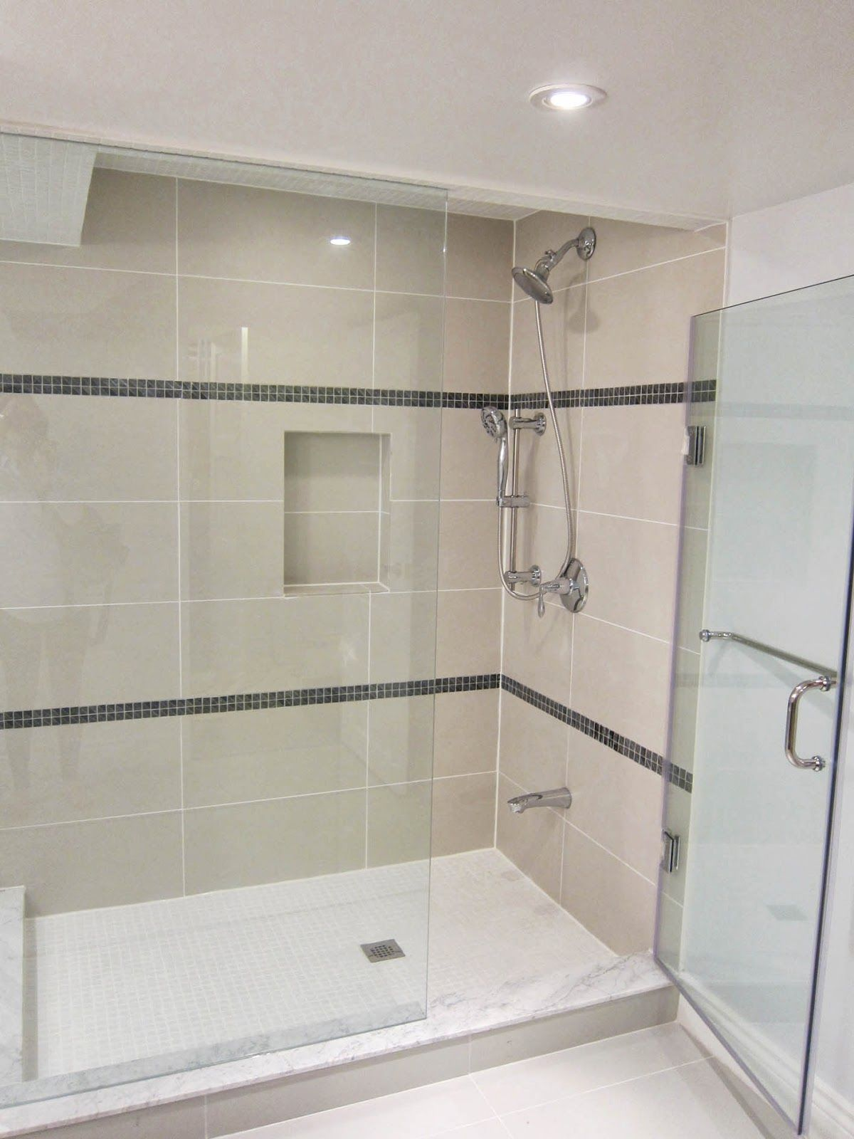 Just An Idea Of What Beige Cream Tan Tiles Look With White Shower