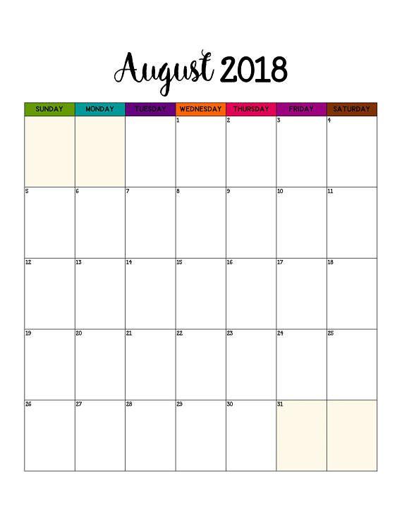 2018 wall calendar printable