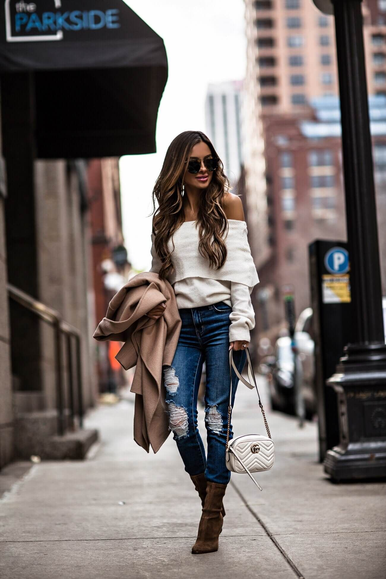 d8e41ae560b fashion blogger mia mia mine wearing a white off-the-shoulder sweater and  camel coat from nordstrom