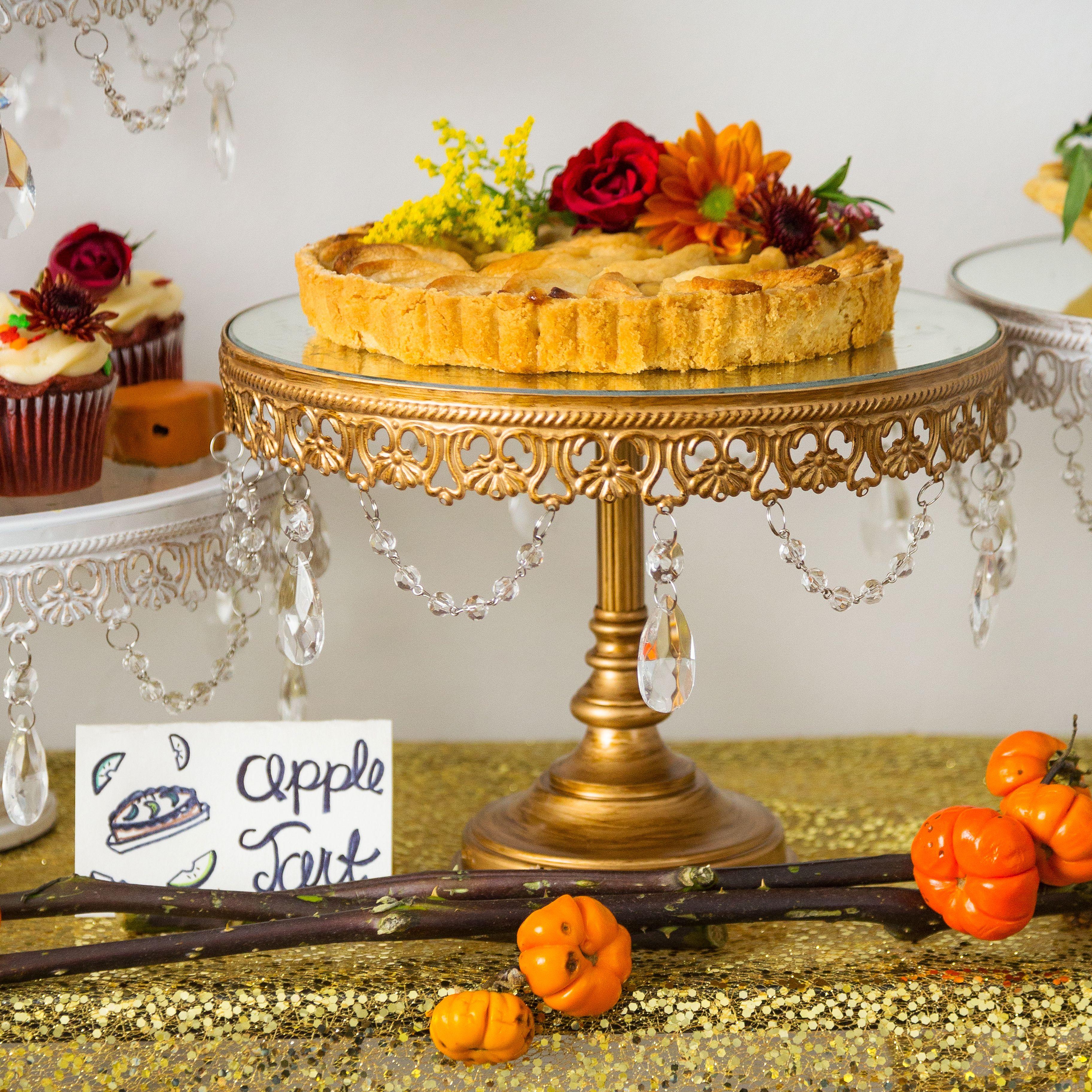 10 inch vintage round mirrortop crystal cake stand gold