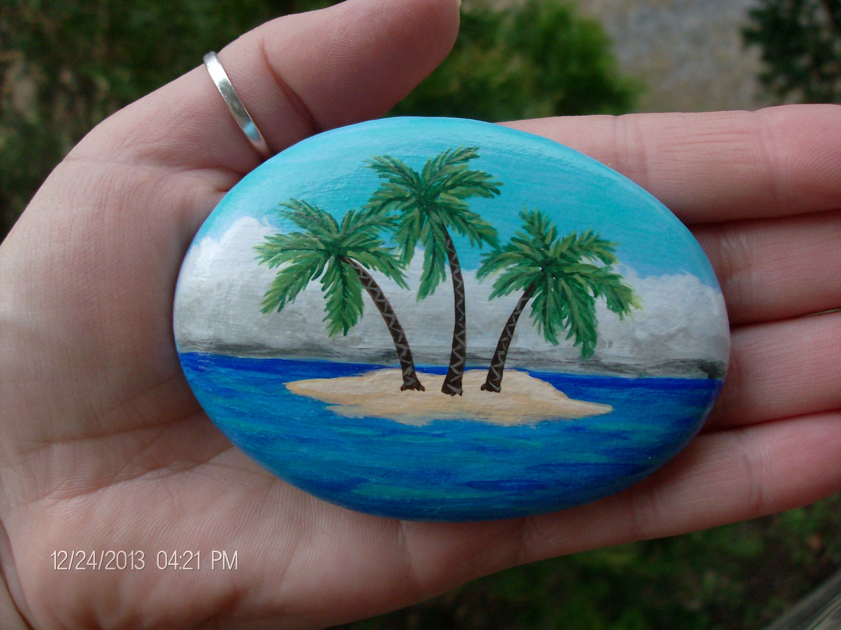 Tropical Island Stone Rock Painting Designs Painted Rocks Rock Painting Patterns