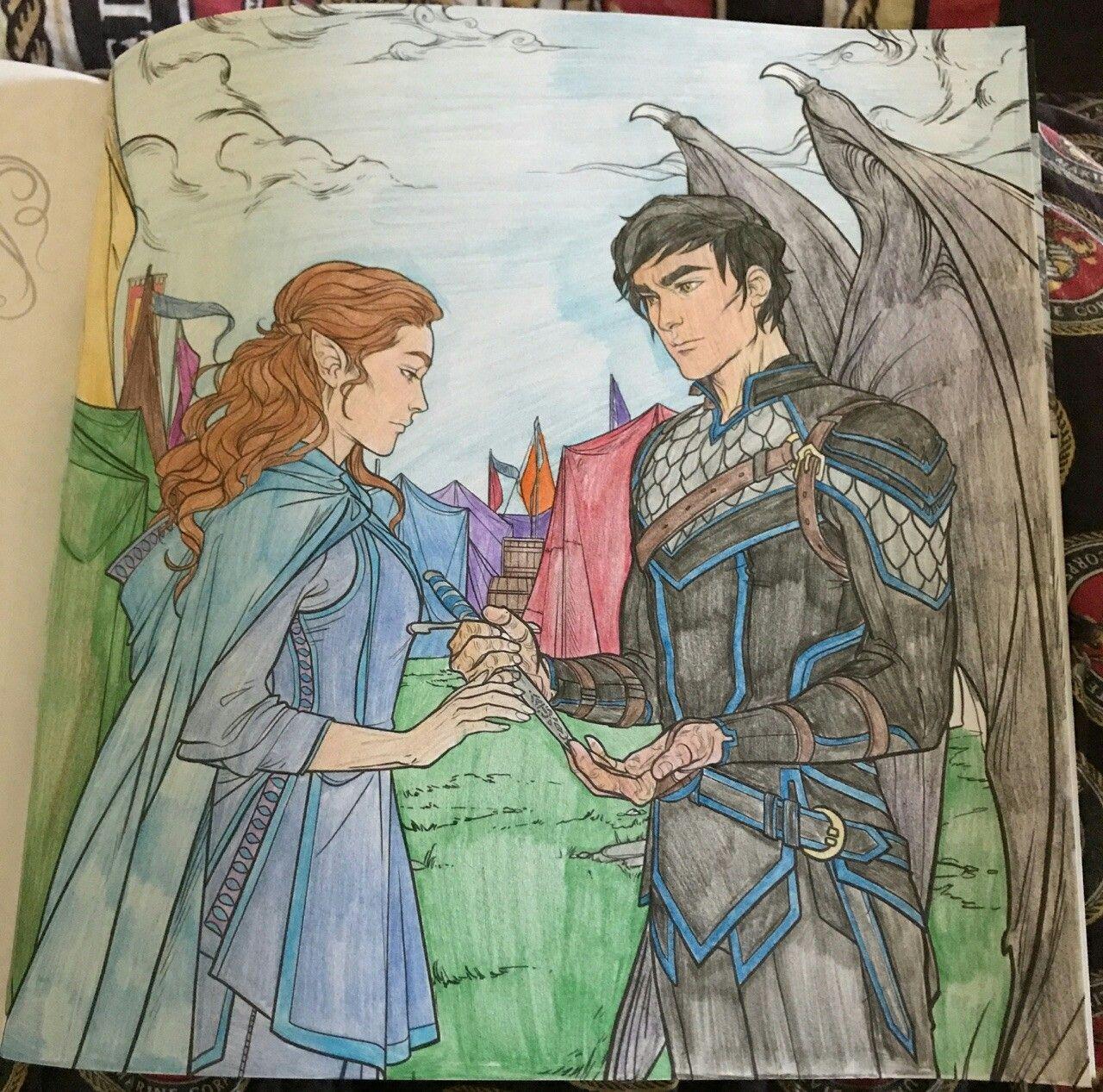 Elain Azriel Acotar Coloring Book A Court Of Mist And Fury