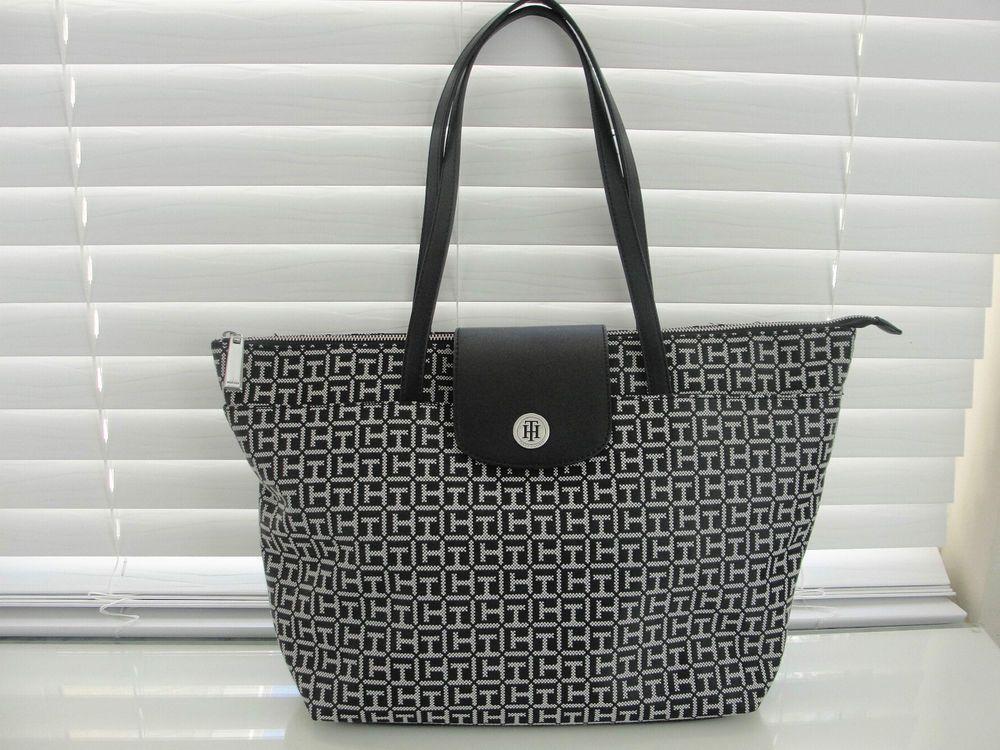 Tommy Hilfiger Tasche Handtasche Grosser Shopper Tote Schwarz Neu 99 Tote Bag Bags Fashion