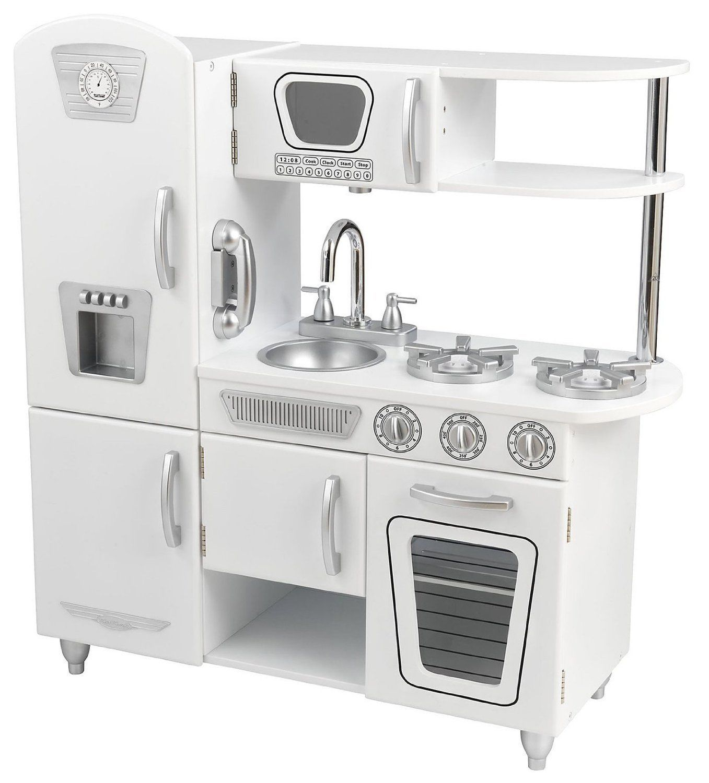 Kidkraft white retro kitchen refrigerator pretend play set kids