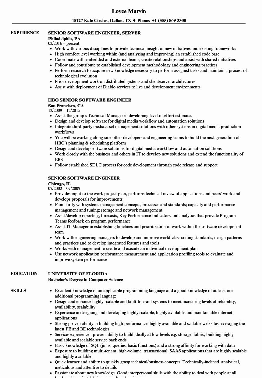 Software Engineering Resume Template Lovely Senior