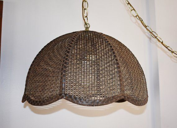 Brown Caned Wicker Hanging Lamp Plug In Mid Century Rattan