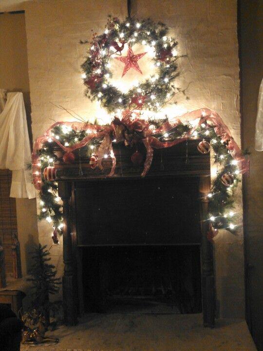 Finished fireplace Christmas decor Decor- Fireplace decorating - christmas fireplace decor
