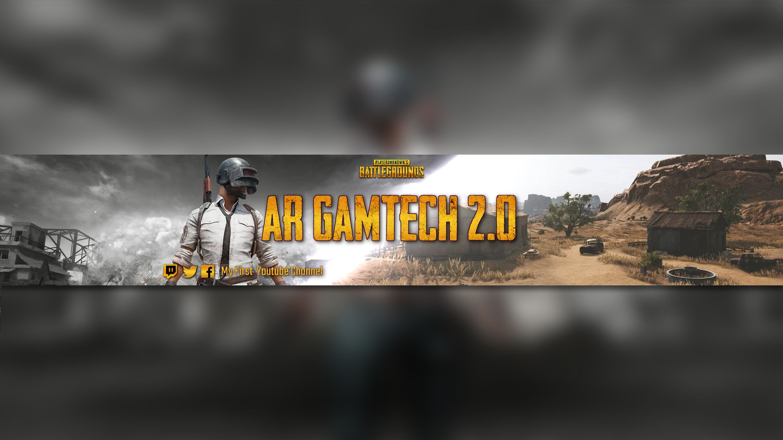 Create a youtube banner game of PUBG cool in 2020 (With