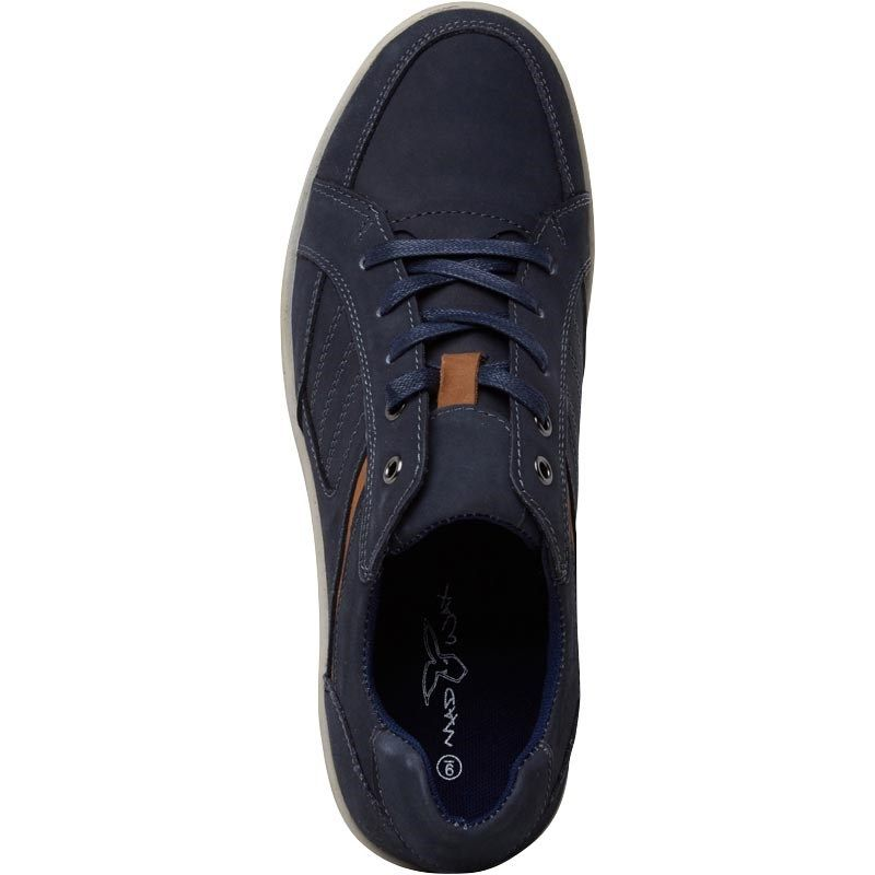 13b00e61868 Mad Wax Mens Leather Lace Up Casual Shoes Navy