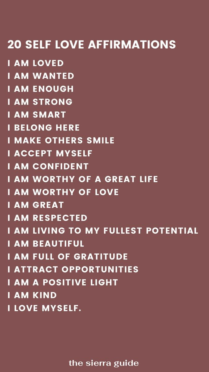 20 Affirmations for Self Love