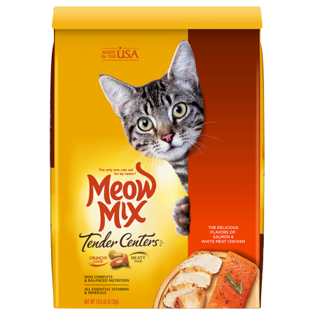 Meow Mix Tender Centers Salmon White Meat Chicken Dry Cat Food 13 5 Pounds Walmart Com In 2021 Dry Cat Food Cat Food Chicken Flavors