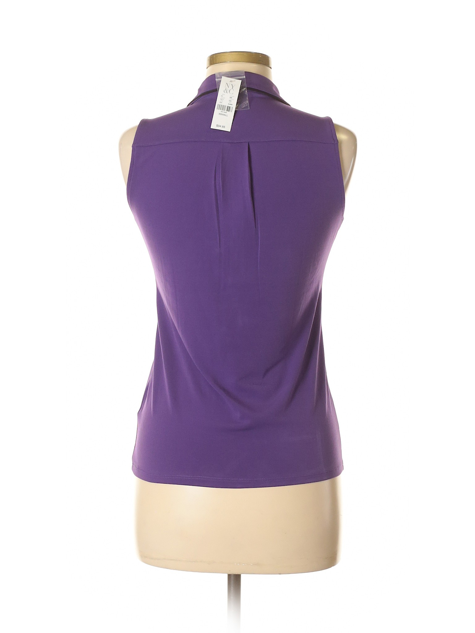 New York U0026 Company Sleeveless Henley: Size 0.00 Dark Purple Womenu0027s Tops    New With
