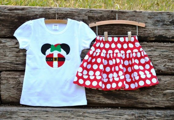 Christmas Spirit is in the air! Mrs. Clause Miss Mouse Shirt + Knit Twirl Skirt. Sz 6m-12yrs. By Hoot n Hollar Children's Clothing