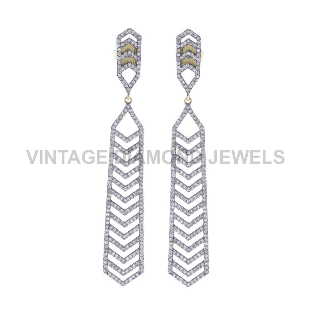 Dangle Earrings Diamond Pave 14k Yellow Gold Handmade Designer .925 Silver Party Wear Earrings Jewelry Gift For Mother's Day VDJER-19174 by VintageDiamondJewels on Etsy