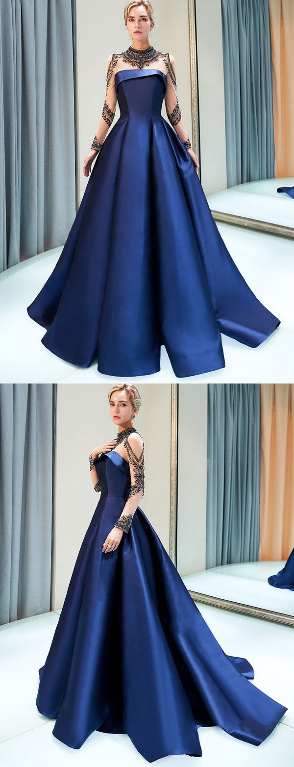 Stunning a line high neck long sleeves navy blue long prom evening
