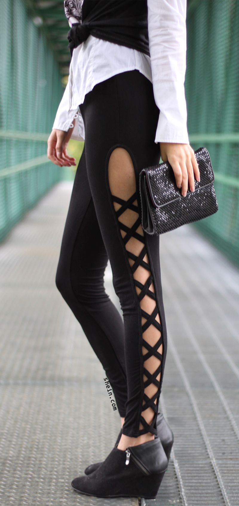 Black Cutout Lattice Detail High Waist Leggings. Shop this with 40% off 1st  order at shein.com! 1582d228d05