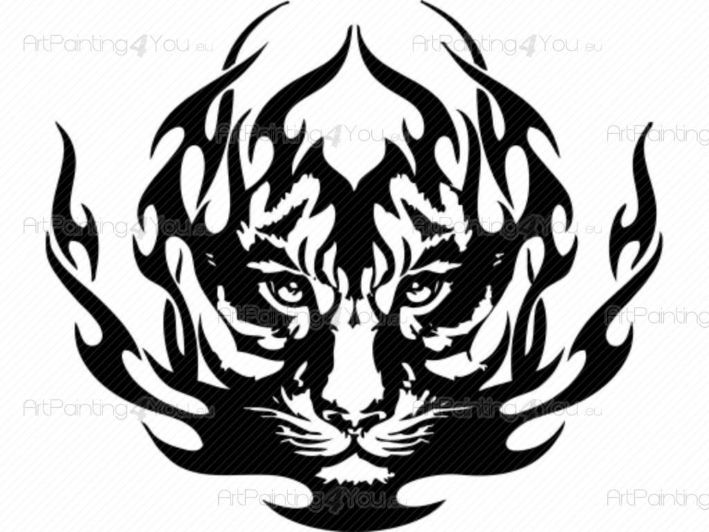 Line Drawing Of A Tiger S Face : Tiger and dragon silhouette related keywords