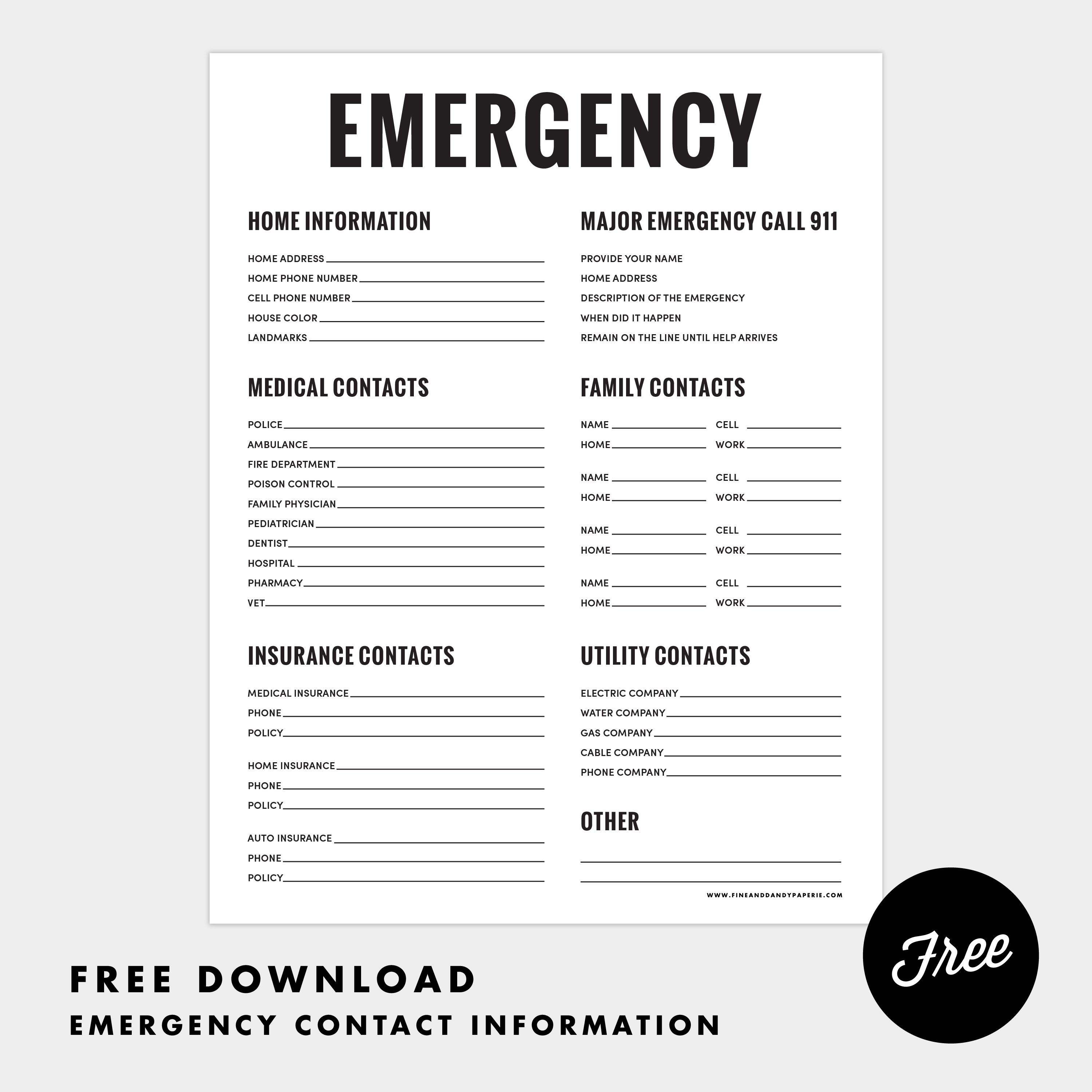 Fine  Dandy Freebies Emergency Contact Sheet Printable