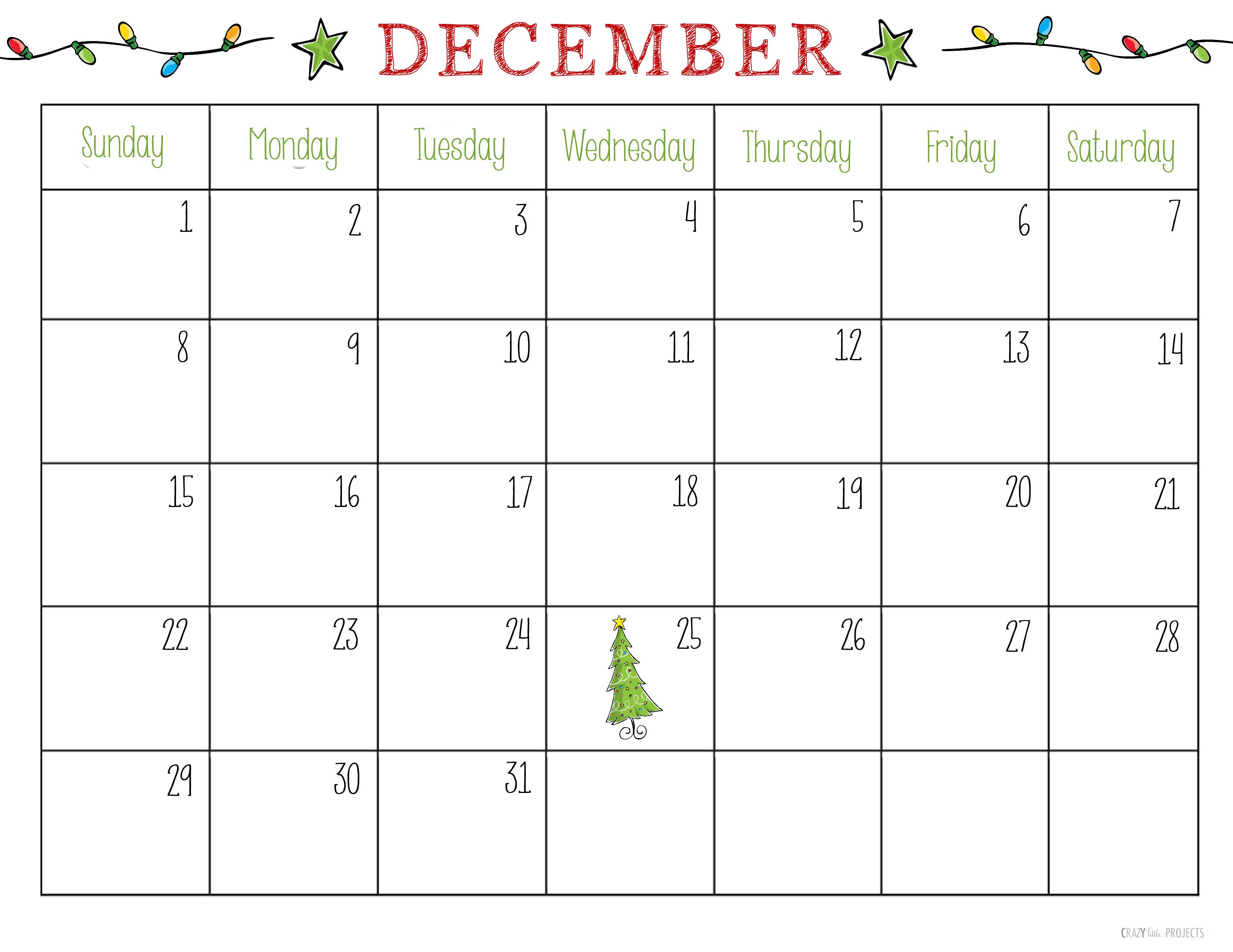 Cute Christmas December Calendar 2020 Free Printable Christmas Planner | Printable december calendar