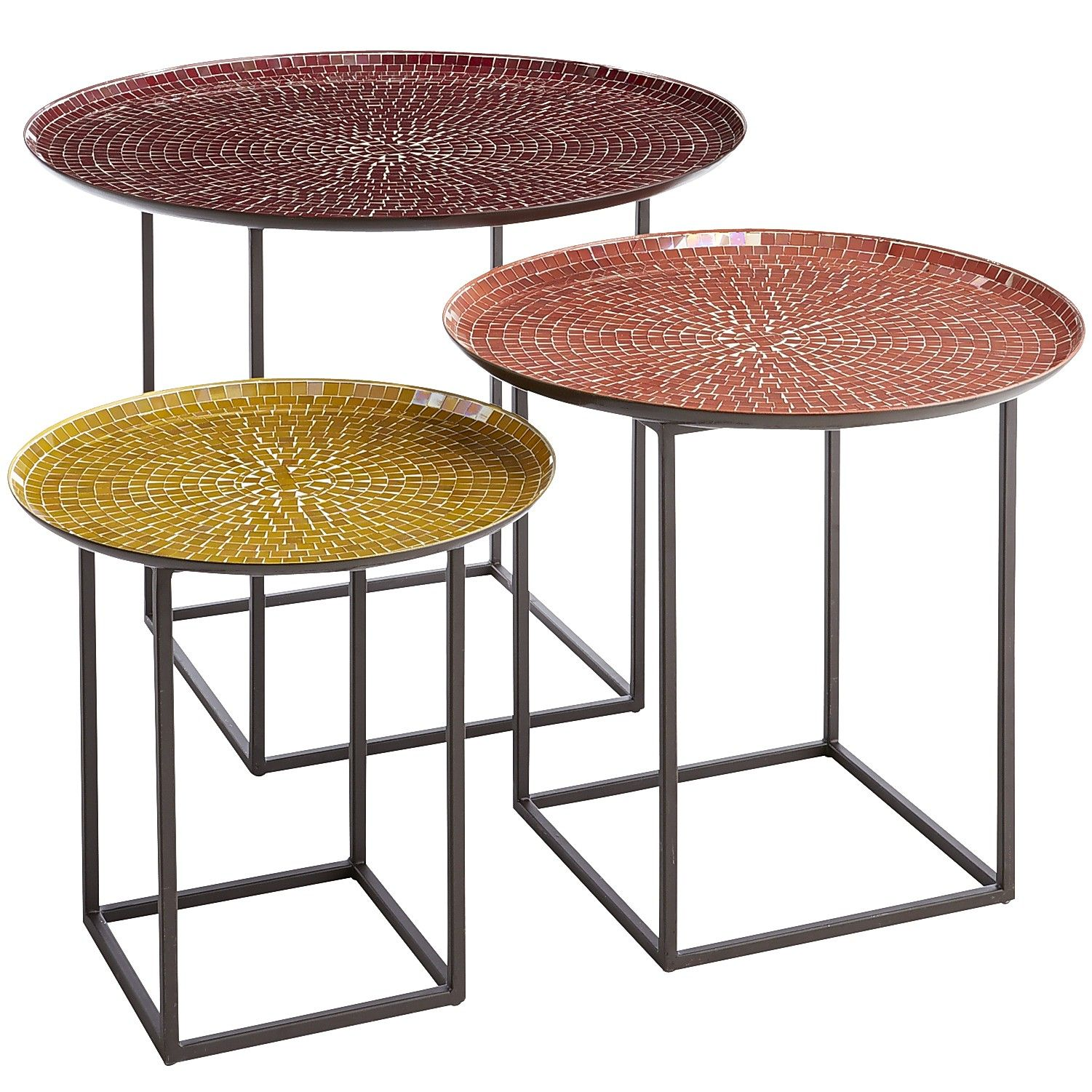 Multi Colored Annabelle 3 Piece Nesting Mosaic Coffee Tables Wrought Iron Outdoor