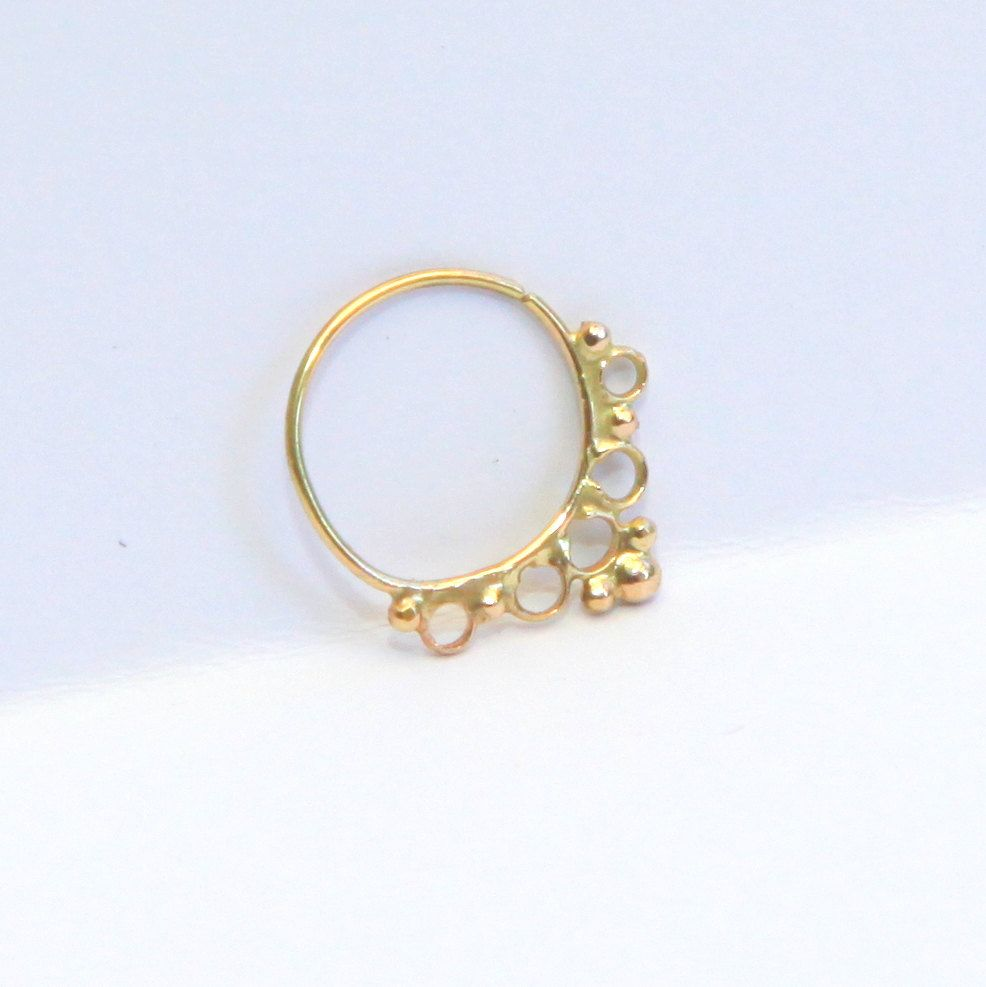 Gold nose piercing  Tribal septum  k yellow gold  Septum ring  nose ring  tragus