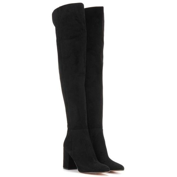 Gianvito Rossi Rolling 85 Over-the-Knee Suede Boots (2 335 AUD) ❤ liked on Polyvore featuring shoes, boots, black, black boots, over-the-knee suede boots, black above the knee boots, over-knee boots and gianvito rossi