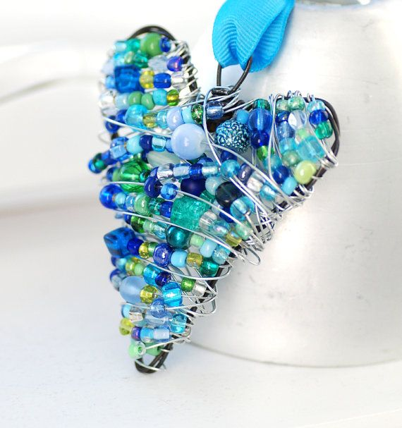 Beaded Wire Heart, Blue and Green Wire Wrapped Ornament, Decoration ...