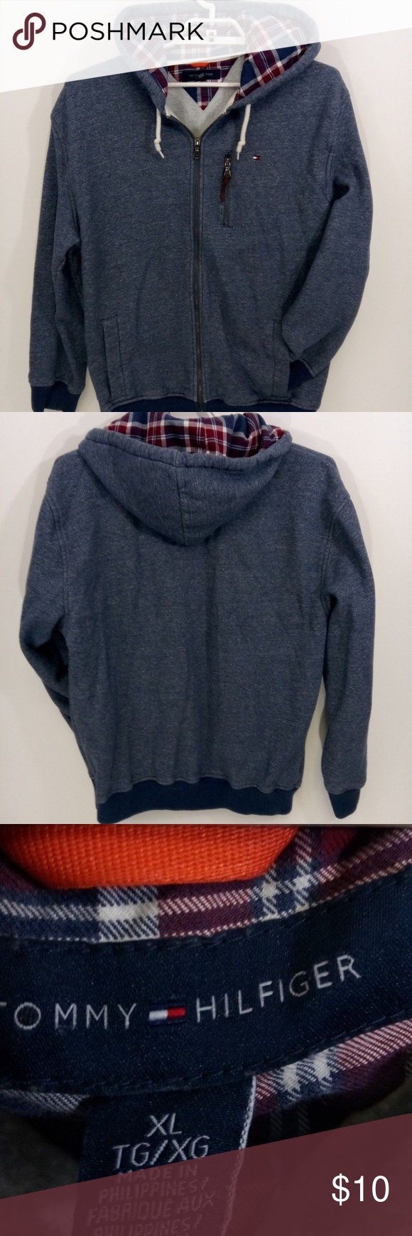 Tommy Hilfiger Blue Hooded Full Zip Jacket Size XL Zip