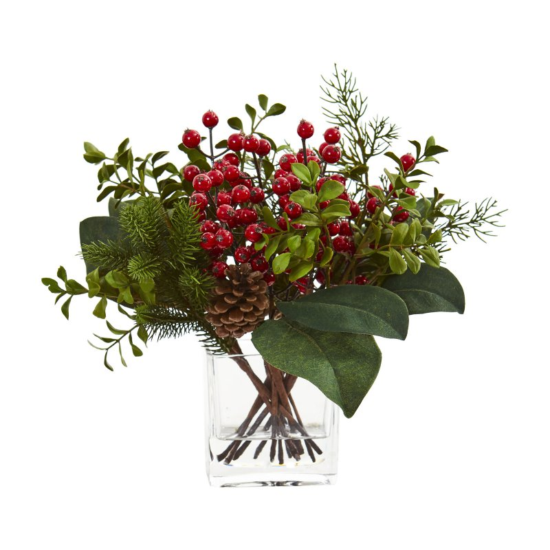 nearly natural berry pine and boxwood artificial on interior using artificial boxwood panels with flowers id=25433