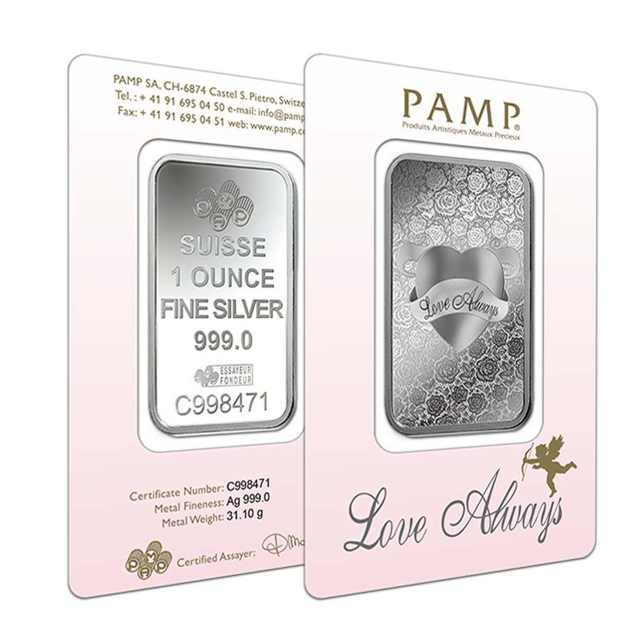 1 Oz Pamp Suisse Silver Bar Love Always In Assay 999 Fine Bullion Exchanges Silver Bars Silver Love Always
