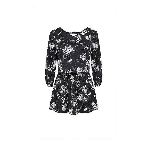 Plus Size Floral Print Chiffon Peplum Top ($25) ❤ liked on Polyvore featuring tops