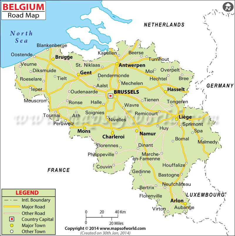 Detailed Clear Large Road Map of Belgium Ezilon Maps Kingdom of