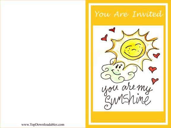 Free Printable You Are My Sunshine Party Invitation Template Sunshine Birthday Parties Party Invite Template Sunshine Birthday