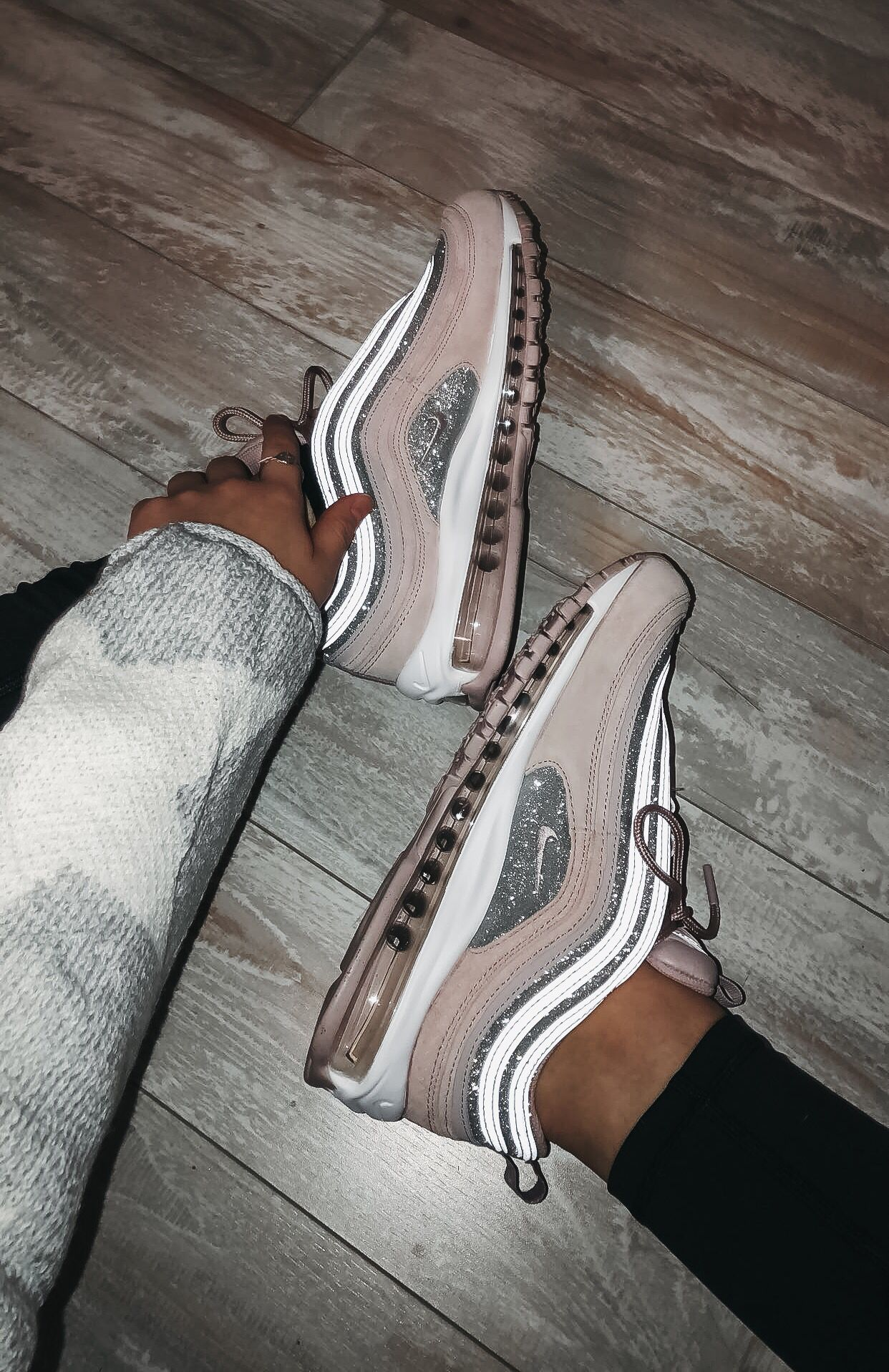 Custom Nike Air Max 97 Shoes Embellished in Rose Gold