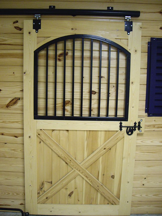 Custom built wooden barn doors quality amish built for Horse stall door plans