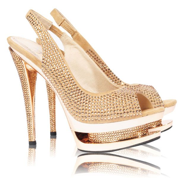 dfeb26ac01c Shoes    Heels    Diva Gold Slingback Crystal Embellished Platform Heels -  Celeb Boutique - Celebrity Style At High Street Prices