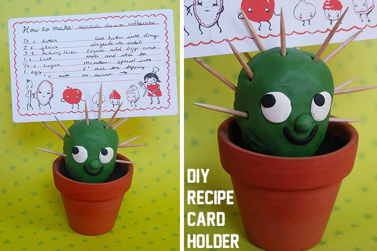Cactus Recipe Card Holder | 25+ Cactus crafts and DIY                                                                                                                                                      More