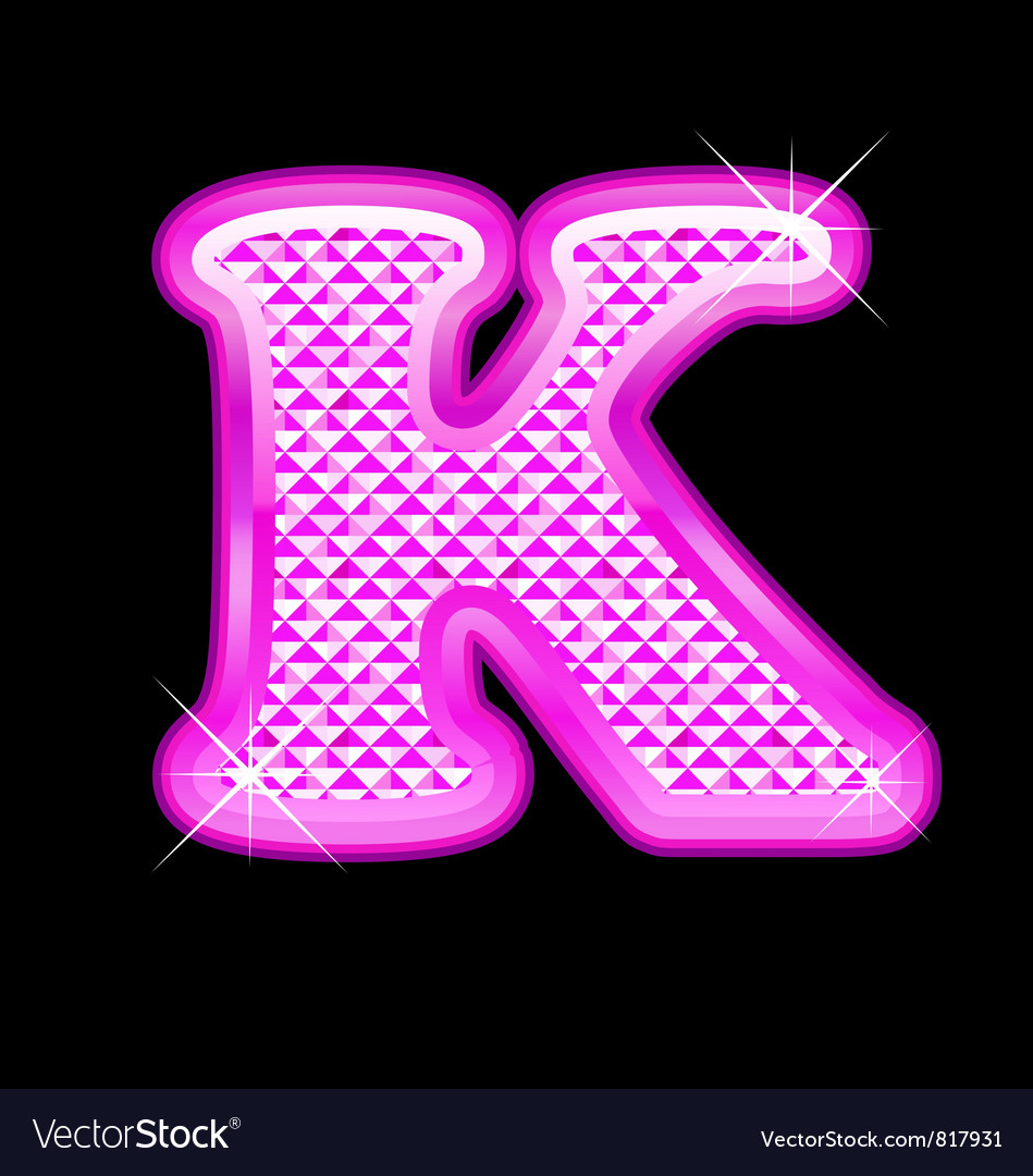 K letter pink bling girly vector image on (With images