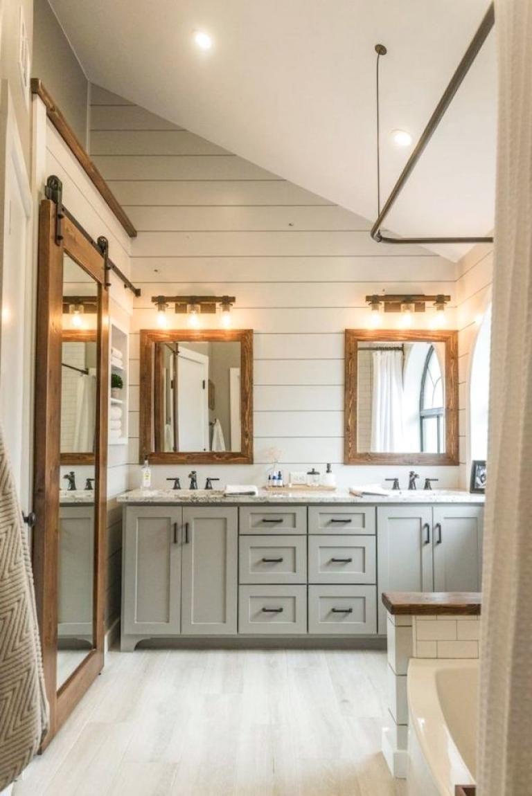 40 rustic farmhouse bathroom decor design ideas