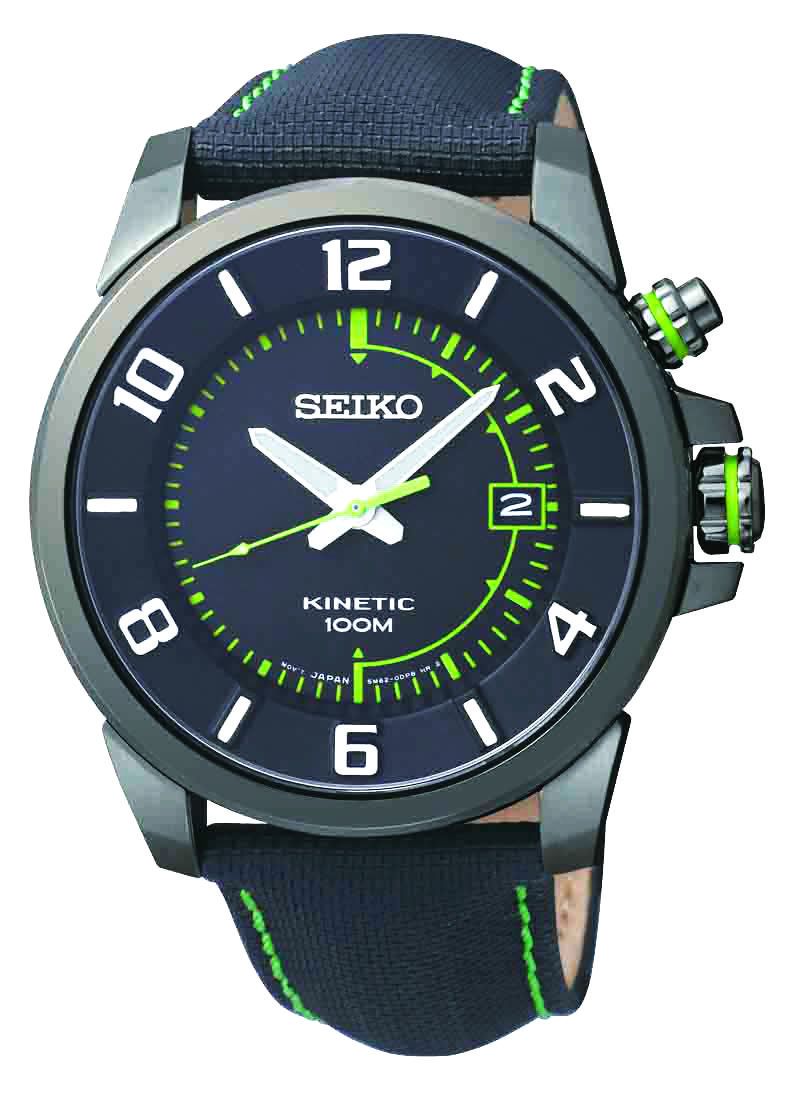 9a7ce9a9f Seiko Kinetic, environmentally friendly watch, With leather strap and green  accents, SKA557 www.SeikoUSA.com