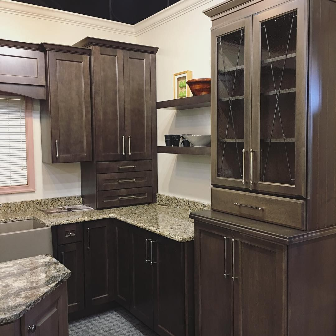 We Are Obsessed With Our New Kitchen Display These Warm Dark Brown Maple Cabinets Are Specially Formulated Maple Cabinets Kitchen Cabinets Kitchen Display