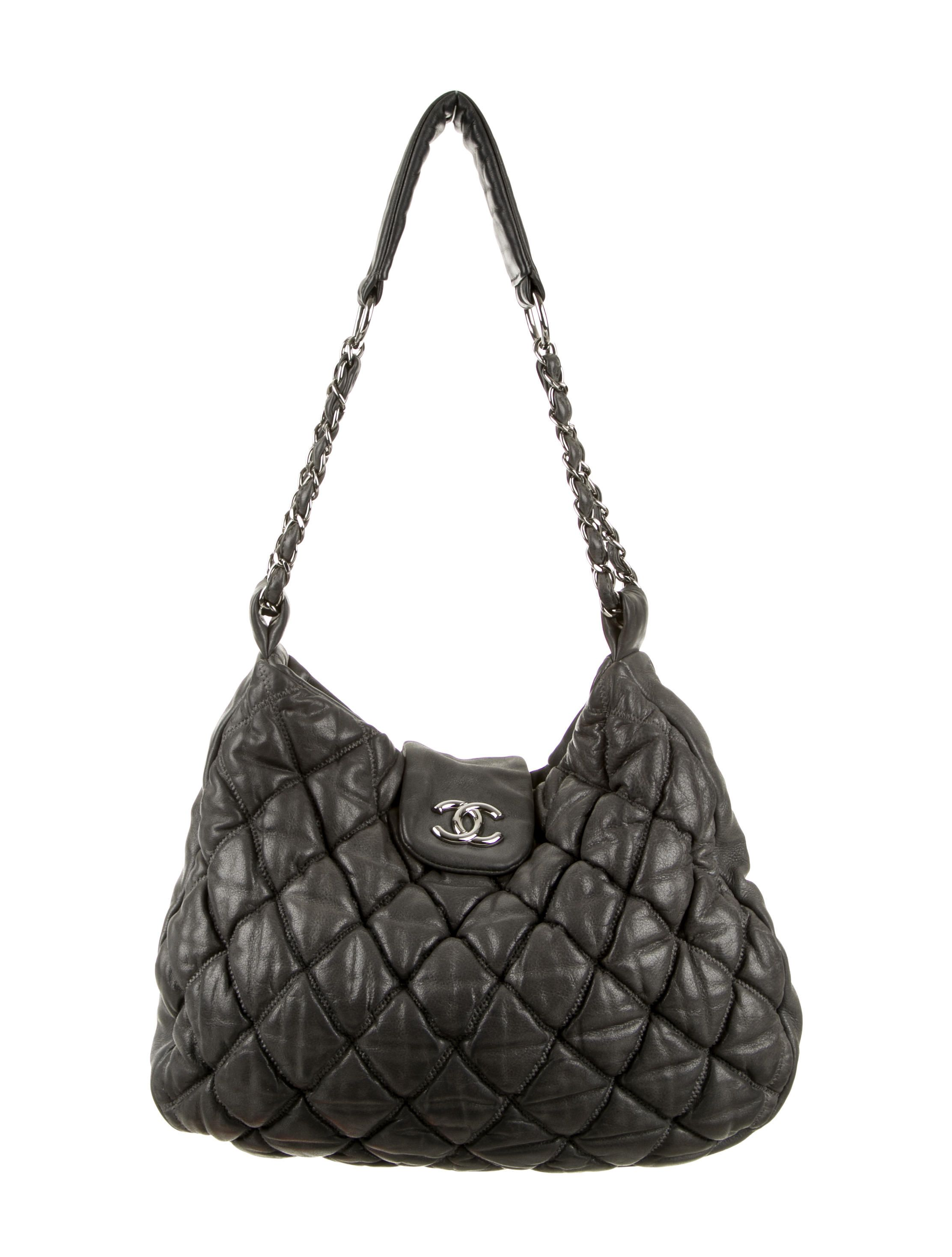 625a74ec0abe Charcoal bubble quilt leather Chanel Large Hobo with silver-tone hardware,  chain-link