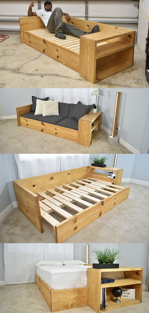 DIY Sofa Bed  Plans: https://gumroad.com/diycreators   Looking for a great a spacing idea for a multipurpose room? Perhaps you may have guest over. Well, this could be what you are looking for. For day to day uses this will perform as another seating area. When a guest arrives this could be easily converted to hold a twin or even a full-size mattress. Built into one of the armrests you have a location to store loose items or home decor. DIY Sofa Bed
