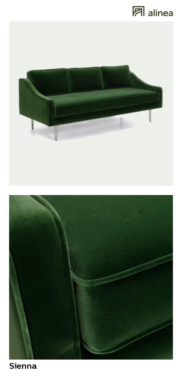 Alinea Sienna Canape 3 Places Fixe En Velours Vert Canapes Tous Les Canapes Canapes Droits Alinea Decoration Ca Canape 3 Places Canape Canape Droit