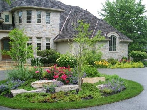 the circular driveway can be decorated with bright colors ...