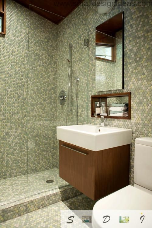 Extra Small Bathroom Design Ideas In Pixel Tile Mosaic Of