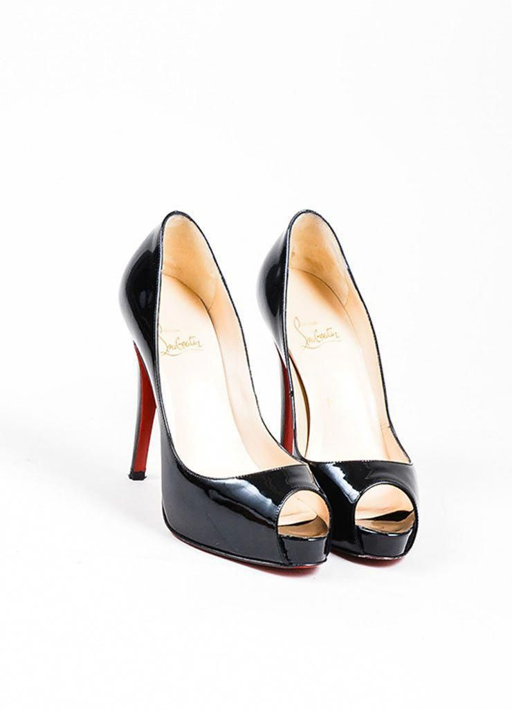 check out 22891 52fc1 Black Christian Louboutin Patent Leather Very Prive Peep Toe ...